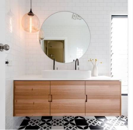 Another Example Of A Beautiful Timber Vanity Love The Black And White Floor Til Wayne